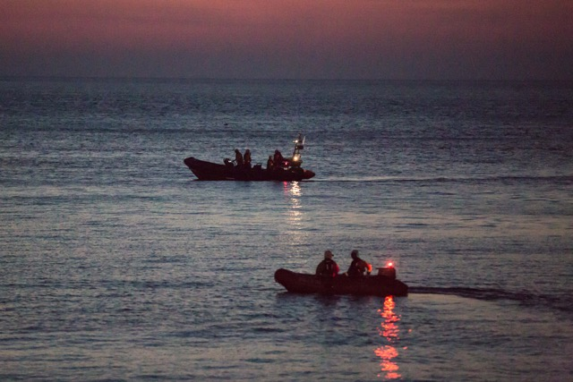 Lifeboats at dusk by photographer Alan Hale